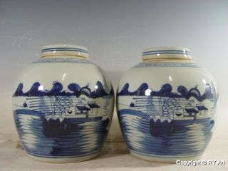 Pair Chinese Blue White Porcelain Ginger Jar 9