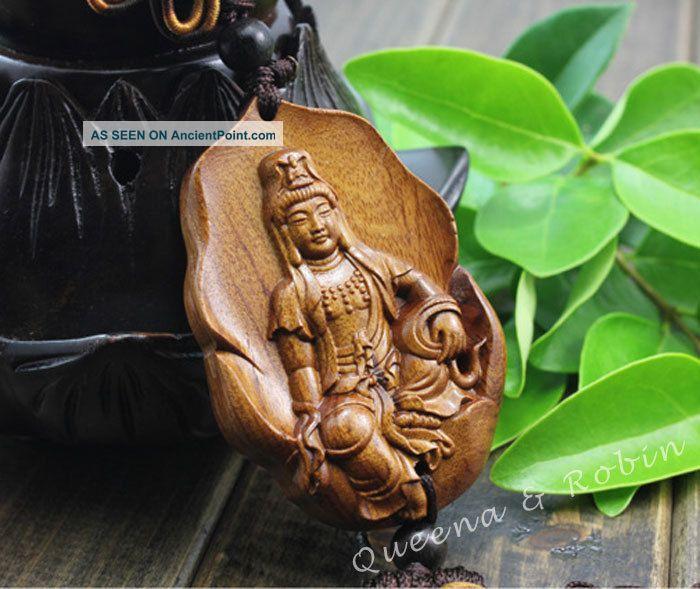 African Rosewood Carved Buddha Kwan - Yin Statue Amulet Car Decor Pendant Gyh Buddha photo
