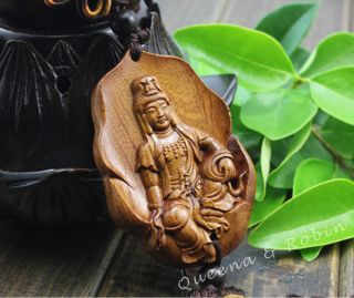 African Rosewood Carved Buddha Kwan - Yin Statue Amulet Car Decor Pendant Gyh photo