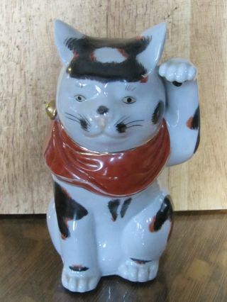 Rare Vintage Imari Kutani Maneki Neko Cat Statue Japanese photo