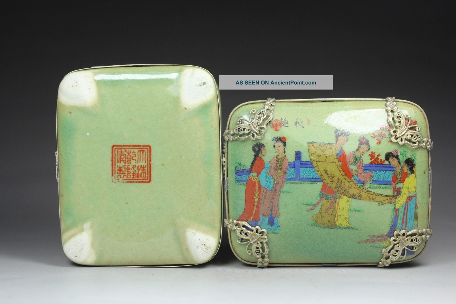 Chinese Handwork Painting Belle Old Porcelain Jewel Box Boxes photo
