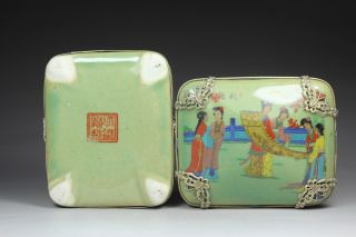 Chinese Handwork Painting Belle Old Porcelain Jewel Box photo