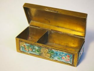 Colorful Antique Brass/enamel Chinese Stamp/trinket Box photo