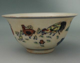 "Antique Chinese ""大明成化年制"" Colorful Famille Rose Porcelain Bowl photo"