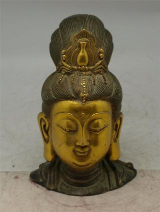 Verdigris Bronze Guanyin Buddha Head - Oriental - 17cm High photo