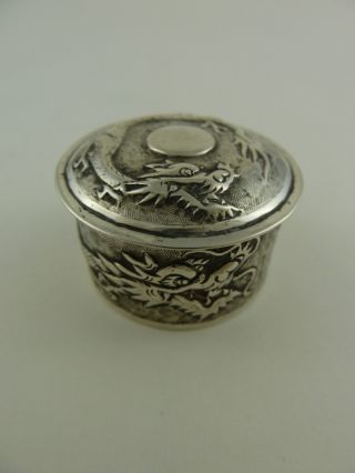 Fantastic Antique Chinese Tuck Chang Silver Dragon Box Mint Condition photo