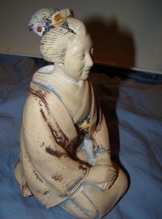 Antique Japan Geisha Ceramic Statue Figure Mama San Labeled photo