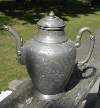 Antique Chinese Pewter Teapot C.  19th Century photo