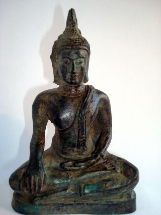 Very Rare And,  Bronze Seated Buddha Statue From Lop Buri,  Thailand. photo