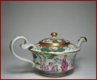 Finest & Large Early 19c Chinese Export Famille - Rose Teapot,  Monogram,  11