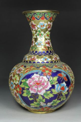 Chinese Handwork Painting Flower Old Cloisonne Vase photo