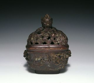 Unusual Antique Chinese Bronze Covered Censer With Waves And Dragons photo