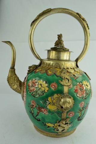 - China Collectibles Old Handwork Porcelain Kylin Big Tea Pot photo