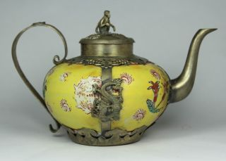 Chinese Handwork Painting Dragon Phoenix Old Porcelain Tea Pot photo