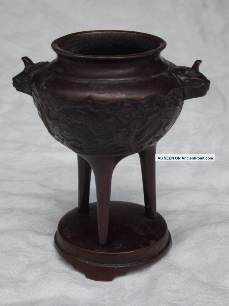Vintage Chinese Bronze Urn - Dragons - Oriental - Incense Other photo