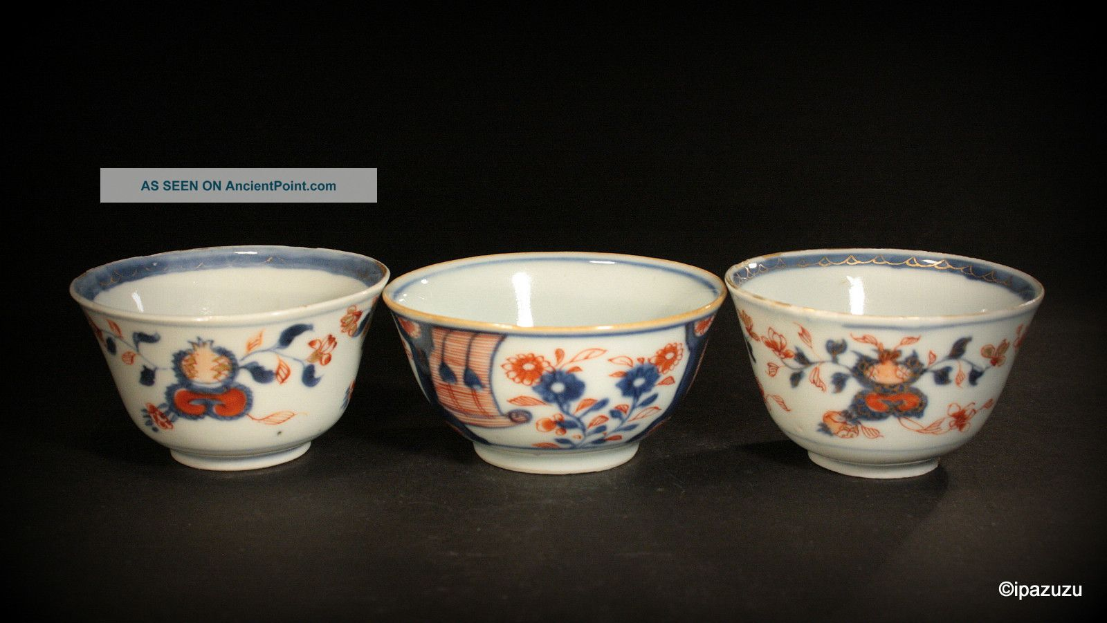 Antique Chinese Imari Tea Bowls Three Piece Lot Circa 1750 Bowls photo