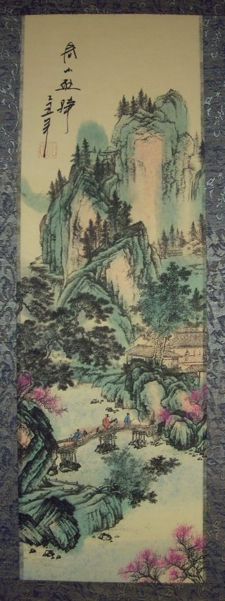 Japanese Silk Calligraphy/ Painting Scroll Landscape 044 photo