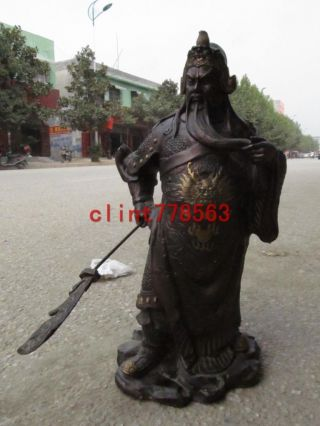 Chinese Red Bronze Exquisite Craftwork Famous Gong Yu Guan Gong Warrior Statuary photo