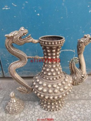 Chinese Classic Silver Stand Ssangyong Statues photo