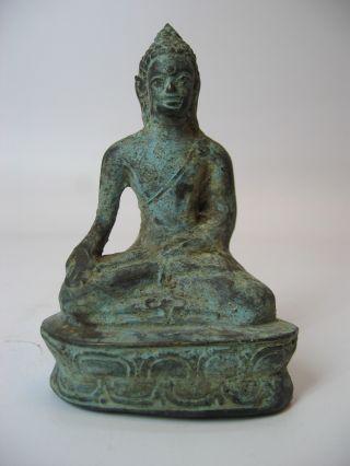 Antique Sitting Buddha Brass Small Statue photo