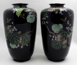 Pair Of Vintage Signed Japanese Ando Cloisonne Enamel Vases photo