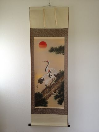 176 ~double Cranes & Pine Tree~ Japanese Antique Hanging Scroll photo