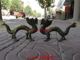 China Folk Favorite Bronze 2 Dragon Pair Statues 15 photo