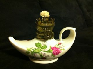 Ant Porcelain & Brass Oil Lamp Genie Gold & Roses 5.  5