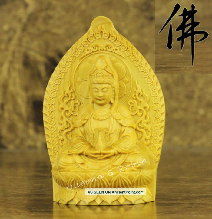 Chinese Wood Carved Buddha Holy Lotus Dancing Kwan - Kyin Statue Amulet Box Wood Buddha photo