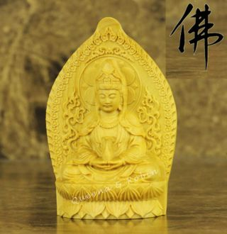 Chinese Wood Carved Buddha Holy Lotus Dancing Kwan - Kyin Statue Amulet Box Wood photo
