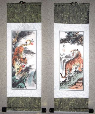 2 Japanese Calligraphy/ Painting Scroll Tiger 204 photo