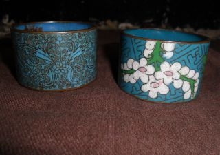 Non Matched Pair Of Early 20th Century Chinese Cloisonne Napkin Rings photo