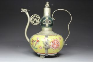 Chinese Handwork Painting Flower Dragon Phoenix Old Jade Porcelain Tea Pot photo