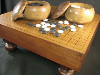 Japanese Vintage Thick Go Game Board Goban Thick Kaya Warm Aged Patina photo