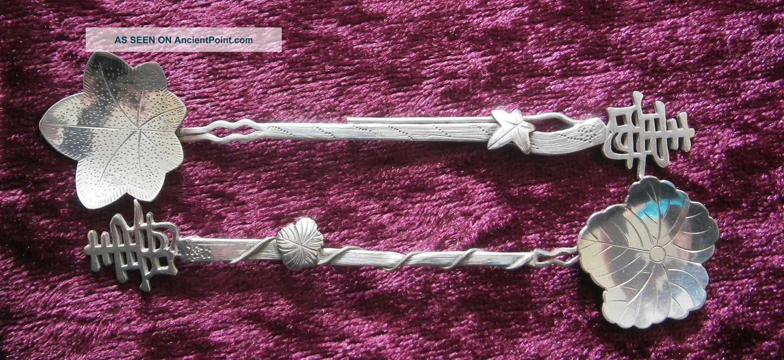 Good Pair Of Antique Chinese Export Silver Spoons - Other photo
