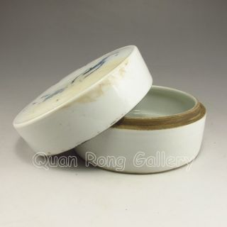Chinese Porcelain Box & Lid W Shrimp & Kang Xi Mark Nr photo