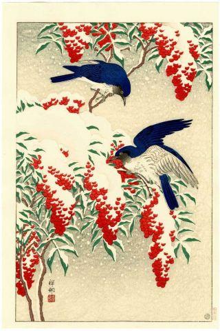 Koson - Japanese Woodblock Print Blue Birds 1929 photo