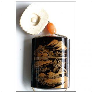 Inro Japanese Lacquer Four Cases Edo Period Sagemono Ojime Netsuke Biwako Design photo