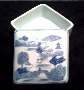Blue Willow Porcelain Trinket Box - Japan photo