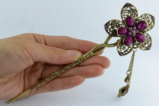 Asian Old Collectibles Decorated Wonderful Handwork Copper Flower Hairpin Aaaaa photo