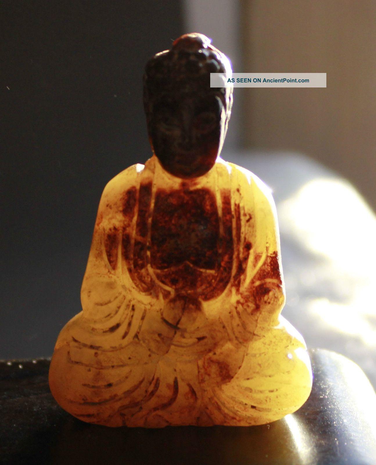 Ancient Chinese Old Hetian White Jade Hand - Carved,  Statues (buddha) Buddha photo