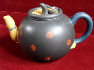 Traditional Handmade Pottery Yixing Zisha Clay Teapot - Colorful Enamel Marks photo