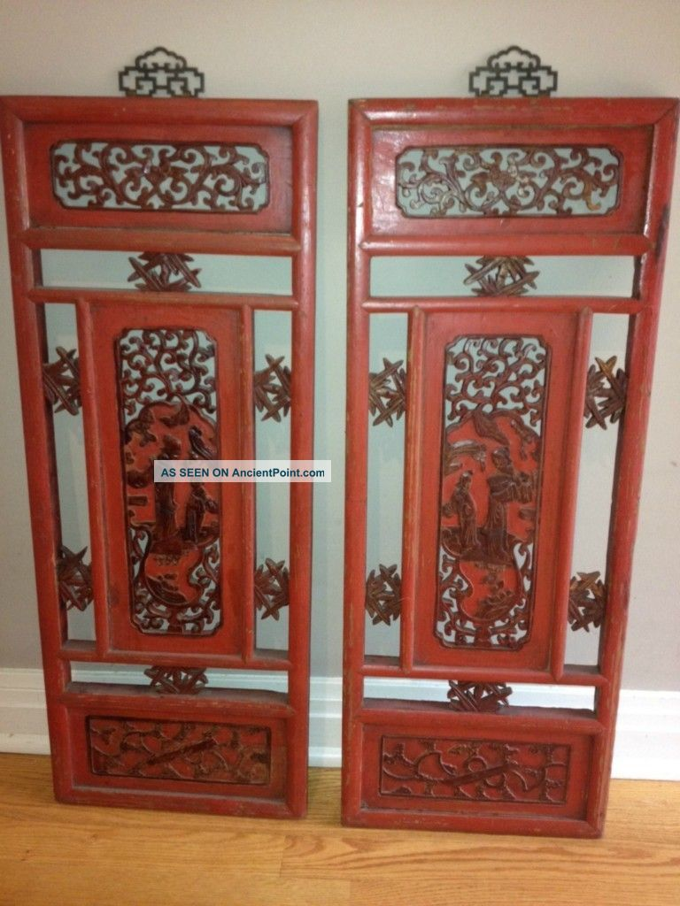 Chinese Antique Oriental Wall Decor Wood Panel Wooden Screen C