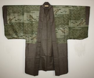 Japaneae Antique Silk Oshima - Tumugi Haori Coat Textile 1900 - 1940 Men ' S photo