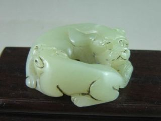 Chinese Old Hetian Jade Carved Double Beast Carving photo