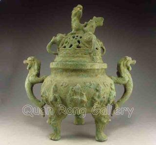 Chinese Bronze Incense Burner & Lid W Foo Dog Nr photo