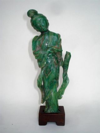 Antique Chinese Carved Green Jade Jadeite Kwan Yin Figure & Stand photo
