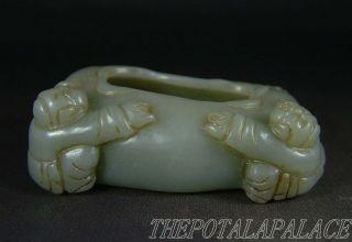 Old Chinese Celadon Nephrite Jade Brush Washer Fairy Boys/ruyi At Side 18/19thc photo