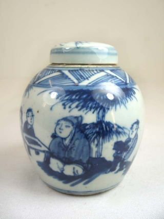 Chinese Pretty Blue&white Porcelain Small Bottle/jar W/ Lid,  Playing I - Go photo