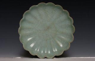 Rare Chinese Song Dynasty Ru Kiln Porcelain Crackls Glaze Lotus Plate Xk15 photo